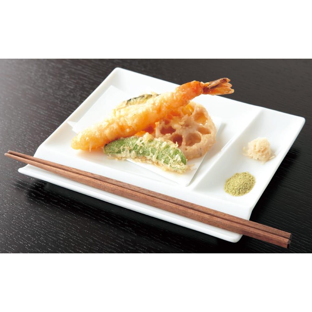 お箸が置けるパレット皿 幅17cm 4枚組 ホワイト