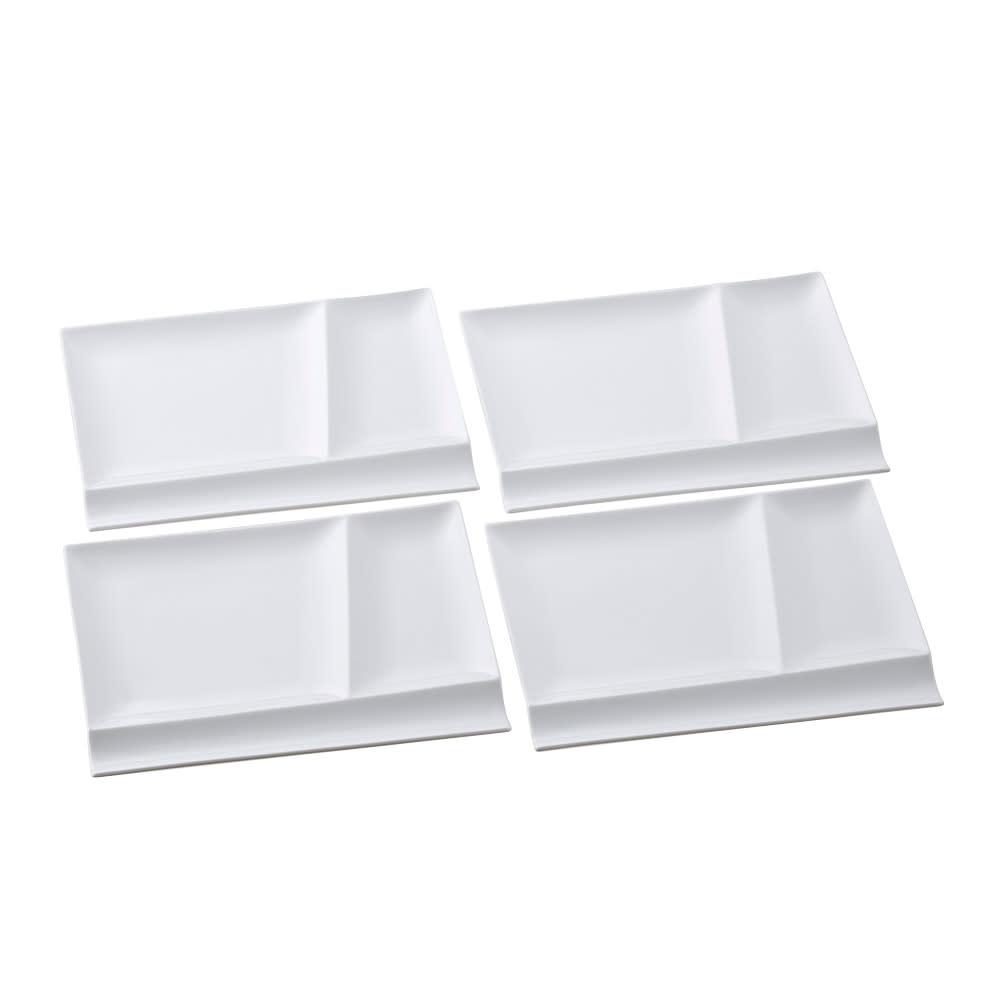 お箸が置けるパレット皿 幅24cm 4枚組 (ア)ホワイト4枚