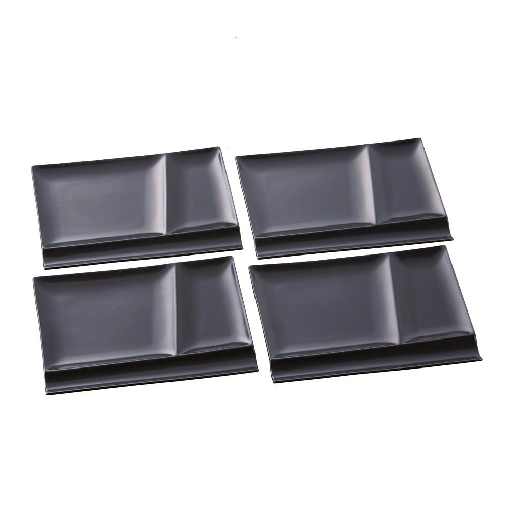 お箸が置けるパレット皿 幅24cm 4枚組 (エ)ブラック4枚