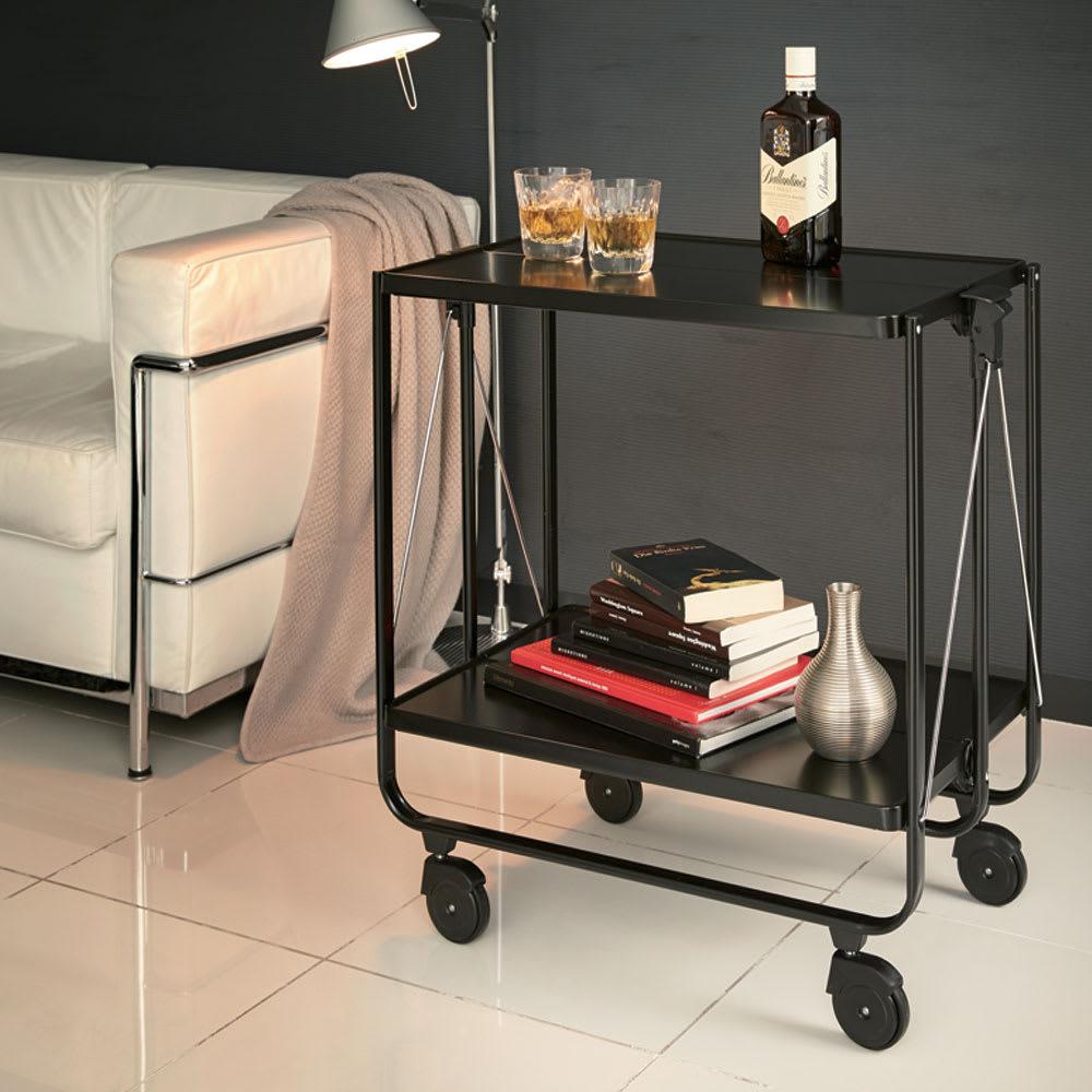 LEIFHEIT/ライフハイト たためるワゴン サイドカー ブラック ソファサイドやデスクまわりなど、ちょっとしたテーブルがほしい時にすぐに使えます