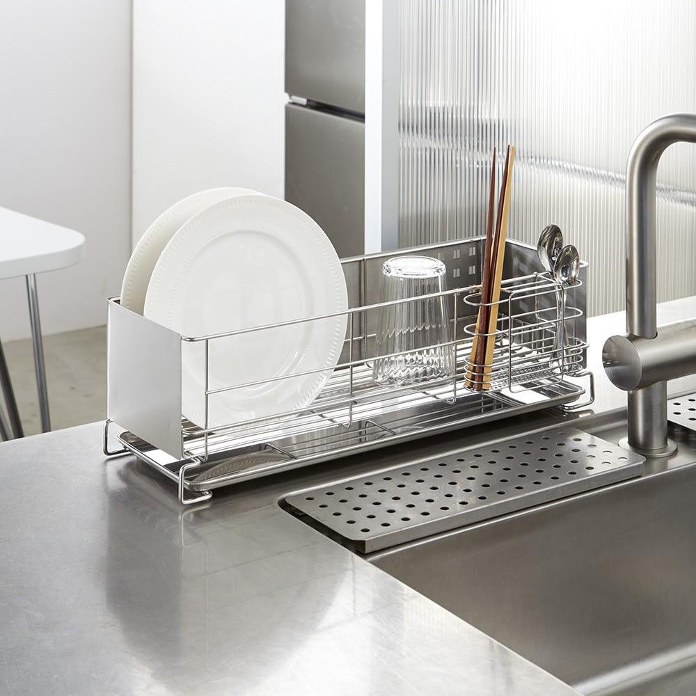 ステンレス製 隠せる スリム 水切りかご 箸立て付き あふれてしまう食器用のサブの水切りや、食器洗浄機をお使いの方にもおすすめ
