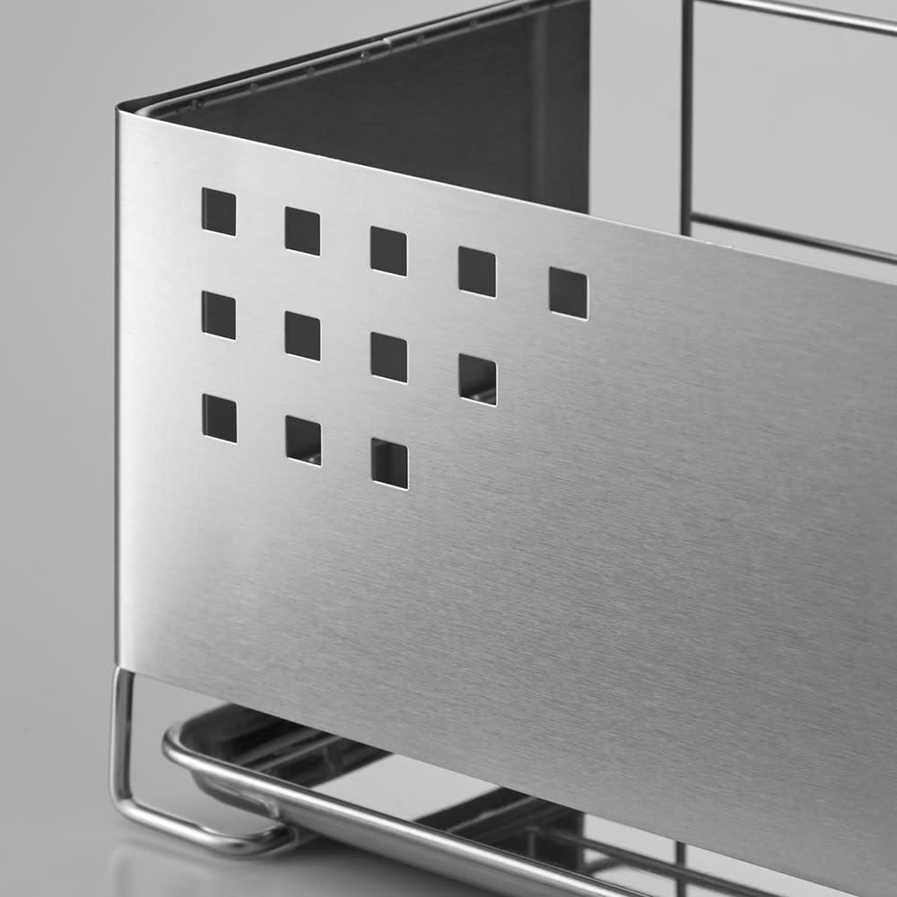 ステンレス製 隠せる スリム 水切りかご 箸立て付き おしゃれなパンチングデザインのステンレスパネルで、食器を程よく目隠しします