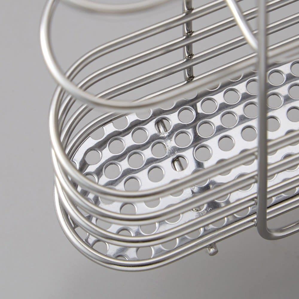 ステンレス製 隠せる スリム 水切りかご 箸立て付き 箸立ての底は通気性のいいメッシュ加工。