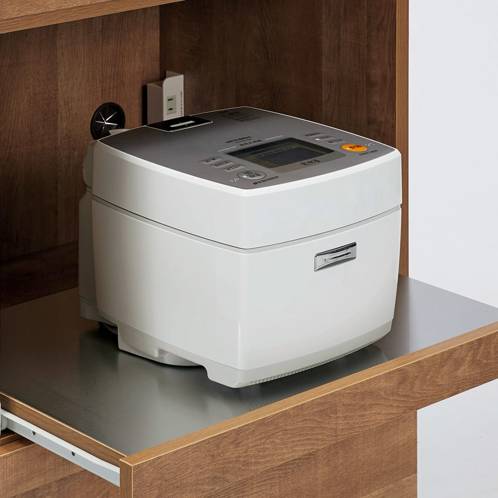 Cretty/クレッティ ステンレス天板 ナチュラルモダンキッチン収納 カウンター幅120cm 炊飯器など蒸気の出る家電が使いやすいスライドテーブル。