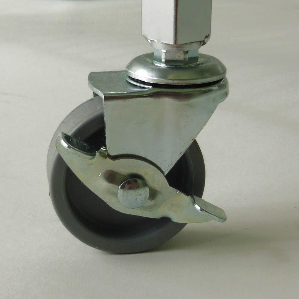 キャスター付き マーブルトップトローリー S(幅45cm) 前輪のキャスターはストッパー付きでしっかり固定できます。