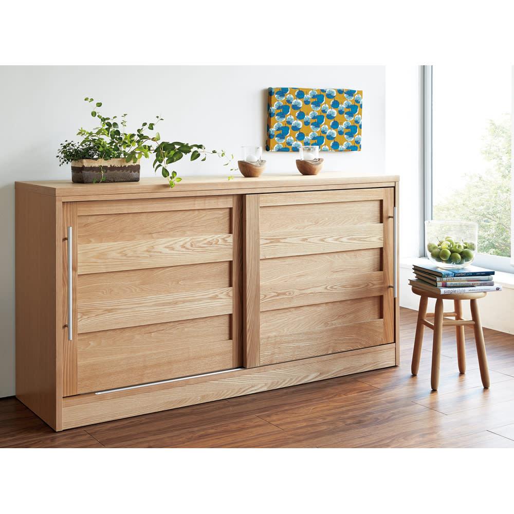 NexII ネックス2 天然木キッチン収納 カウンター 幅160cm ナチュラル キッチン周りのロータイプ食器棚としてはもちろん、リビングボードとしてもお勧め。