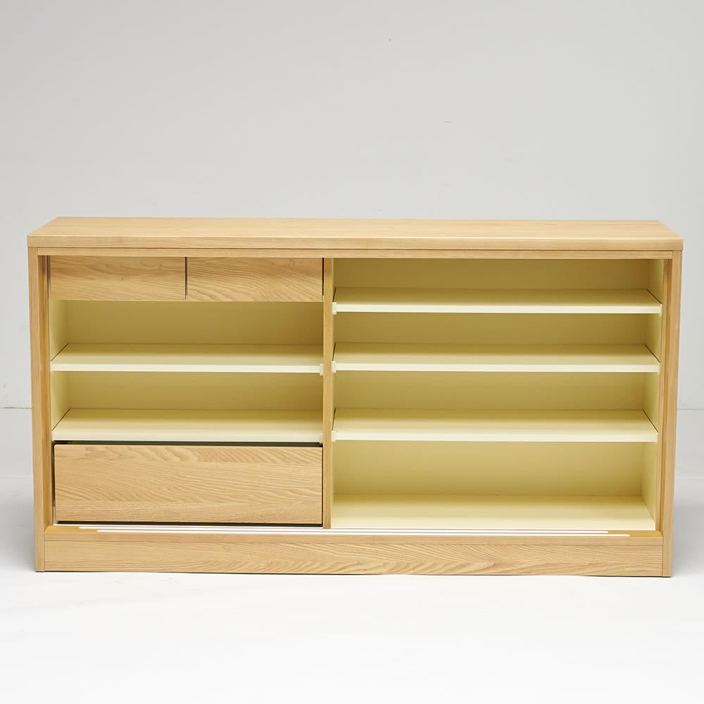 NexII ネックス2 天然木キッチン収納 カウンター 幅160cm ナチュラル 扉を外した状態。収納機能も収納ボリュームも優秀です。