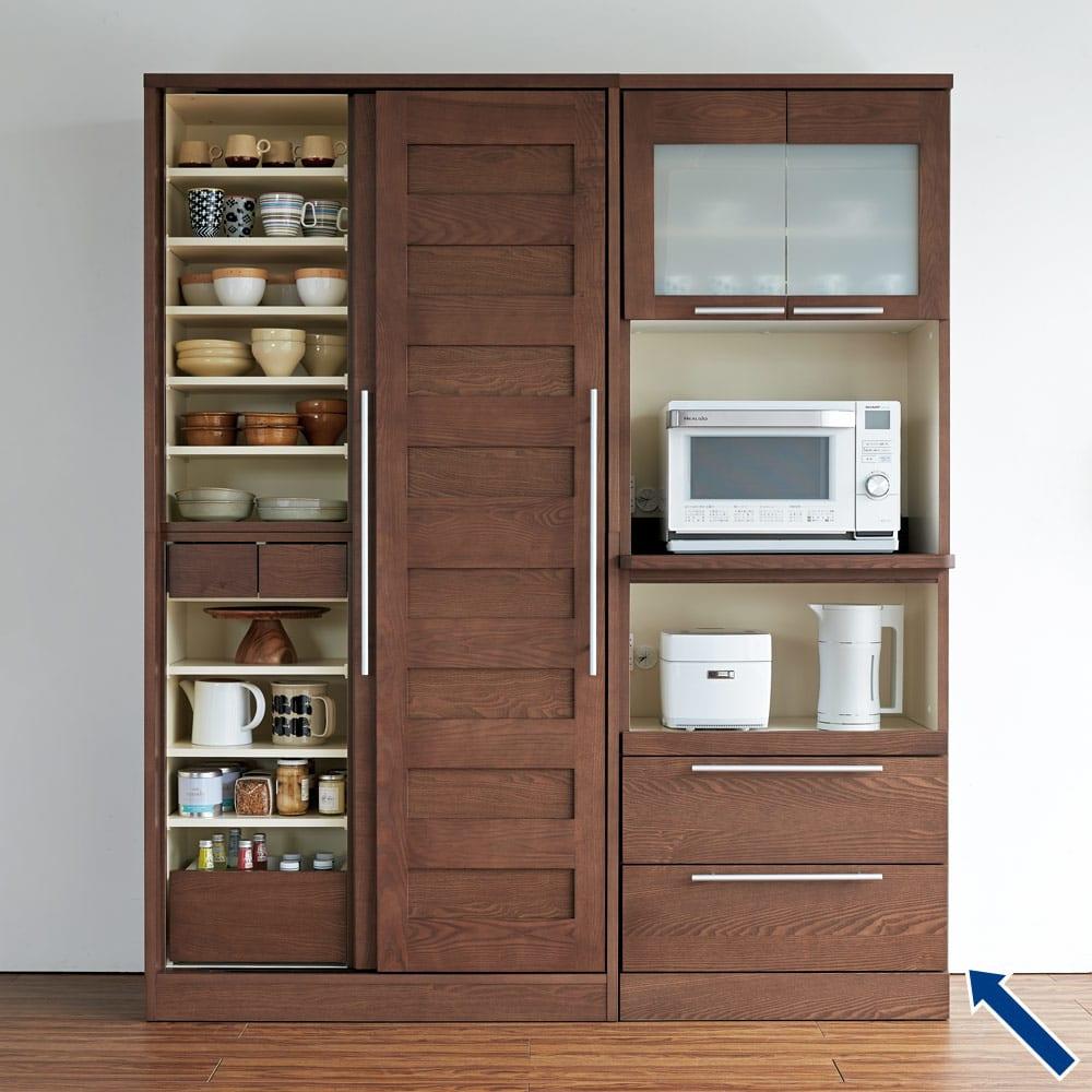 NexII ネックス2 天然木キッチン収納  レンジラック 幅70cm ダークブラウン お届けは矢印の商品 レンジラック です。