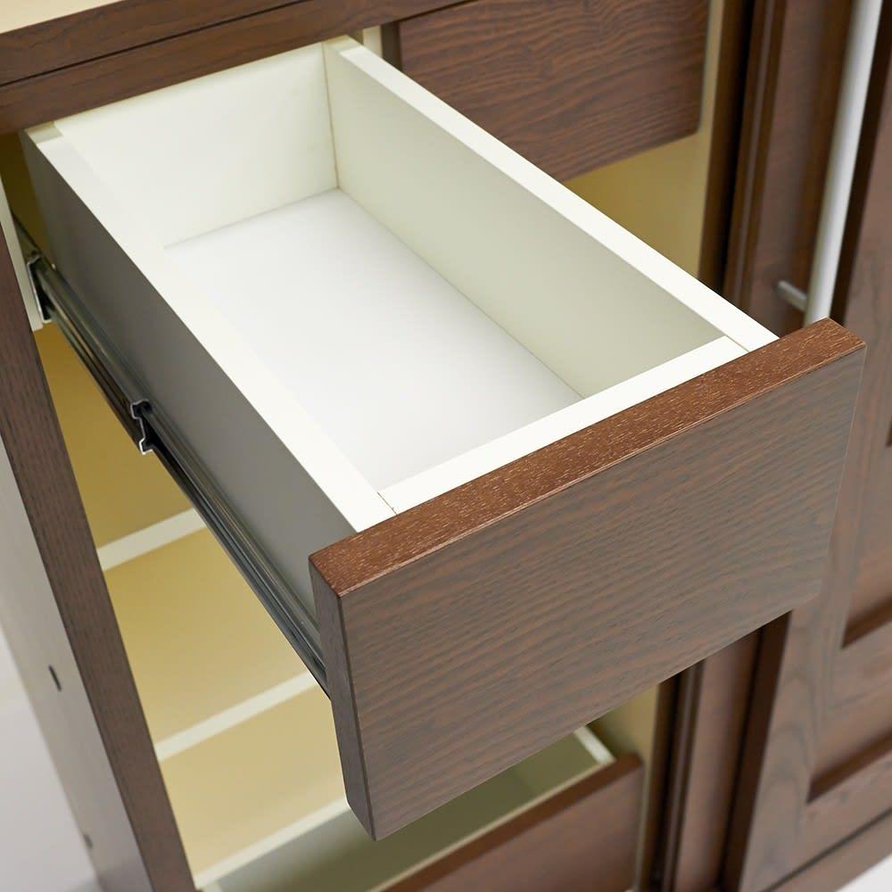 NexII ネックス2 天然木キッチン収納 キャビネット 幅100cm 小さな小引き出しにもしっかりとしたレールを取り付けるこだわり。