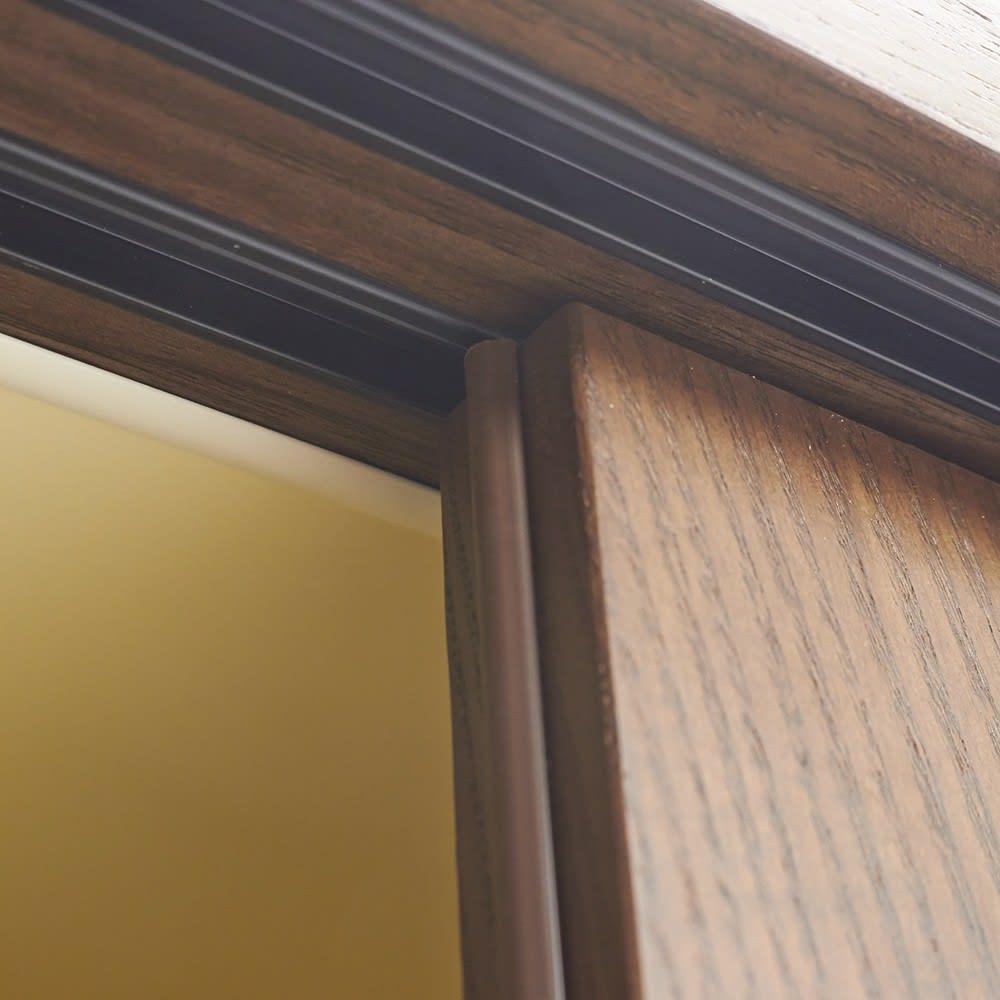 NexII ネックス2 天然木キッチン収納 キャビネット 幅100cm 引き戸はスライドレールをつけ、滑らかに開閉します。