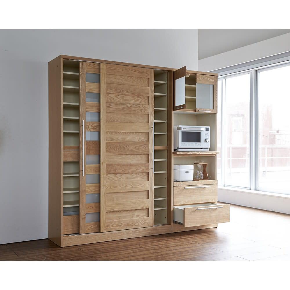 NexII ネックス2 天然木キッチン収納 キャビネット 幅100cm ナチュラル シリーズ品組み合わせイメージ