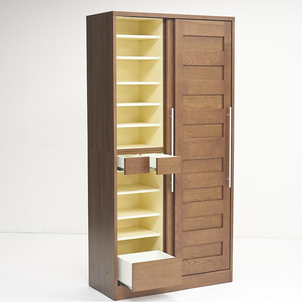 NexII ネックス2 天然木キッチン収納 キャビネット 幅100cm 左側には引き出しが3杯で、こまごましたものや重たいものを収納するのに便利。