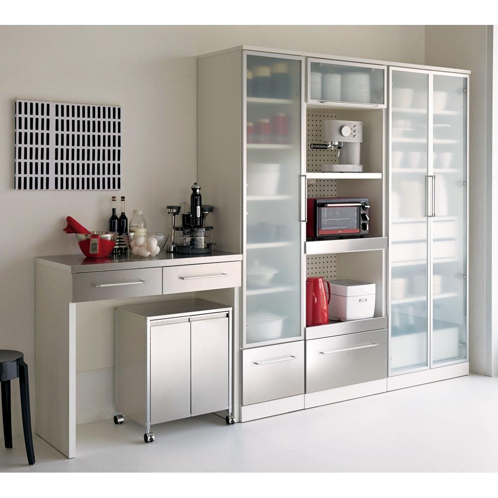 SmartII スマート2 ステンレスシリーズ 間仕切りオープンキッチンカウンター 幅90.5cm高さ85cm ホワイト系 シリーズ組み合わせ例