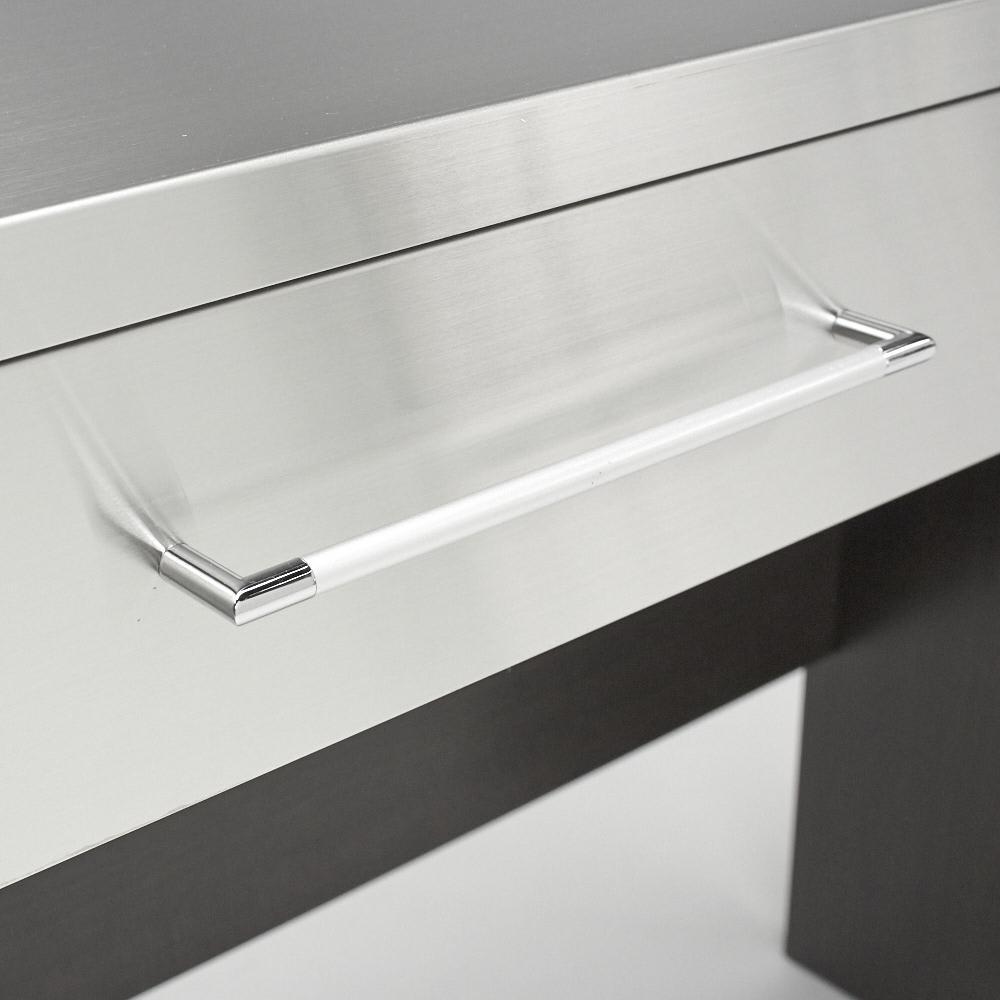 SmartII スマート2 ステンレスシリーズ 間仕切りオープンキッチンカウンター 幅90.5cm高さ85cm ダークブラウン×シルバーの組み合わせで、ステンレスのシャープさが際立ちます。