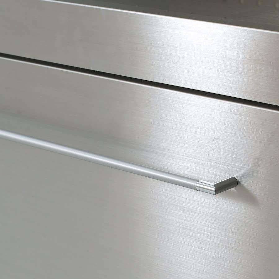 SmartII スマート2 ステンレスシリーズ 間仕切りオープンキッチンカウンター 幅90.5cm高さ85cm 前面ステンレス 前面やスライ可動棚板ドテーブルには、傷に強いステンレスを。クールなヘアライン仕上げ。