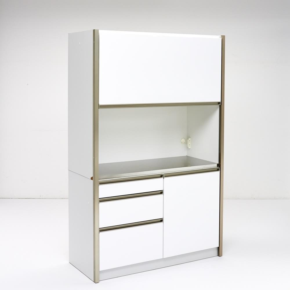 AQUA/アクア ダストダイニングボード・キッチンボード 幅127cm ホワイト 大きく開いた中央オープン部はステンレス天板で、家電の設置はもちろんサブの調理補助スペースとしてもお勧め。
