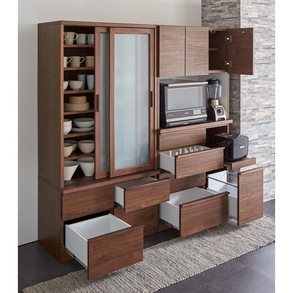 Elno/エルノ スライドボード・引き戸食器棚 幅90cm [コーディネート例]ウォルナット柄