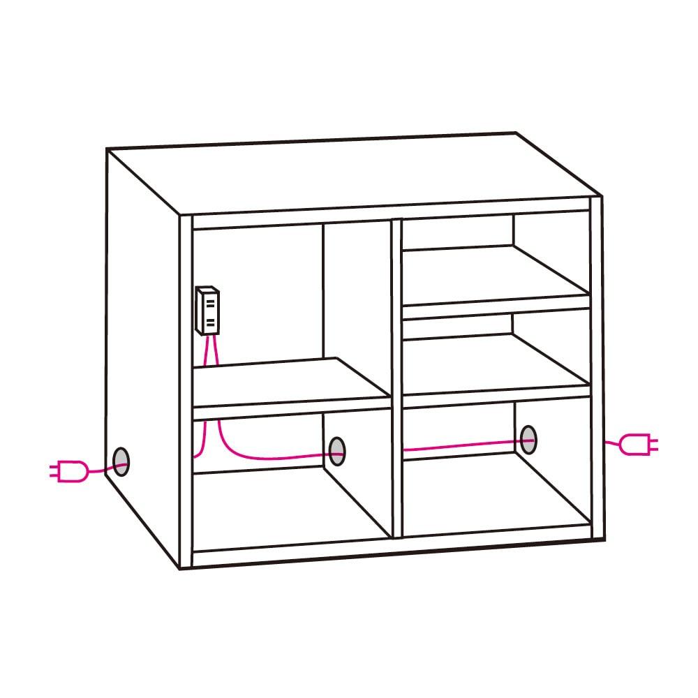 Granite/グラニト アイランド間仕切りキッチンカウンター幅120cm 家電収納付き 〈左右配線コード穴〉コード穴が左右両サイドにあるので、設置場所に応じた配線が可能です。