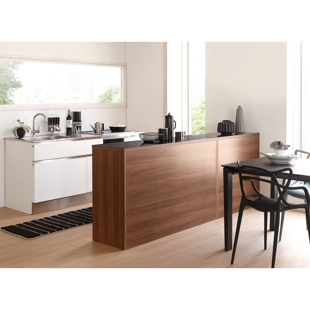Granite/グラニト アイランド間仕切りキッチンカウンター幅140cm 引き出しタイプ 2台並べてもすっきりとまとまる、シンプルな四角いシルエットも魅力です。(写真は幅90と幅140を組み合わせています)