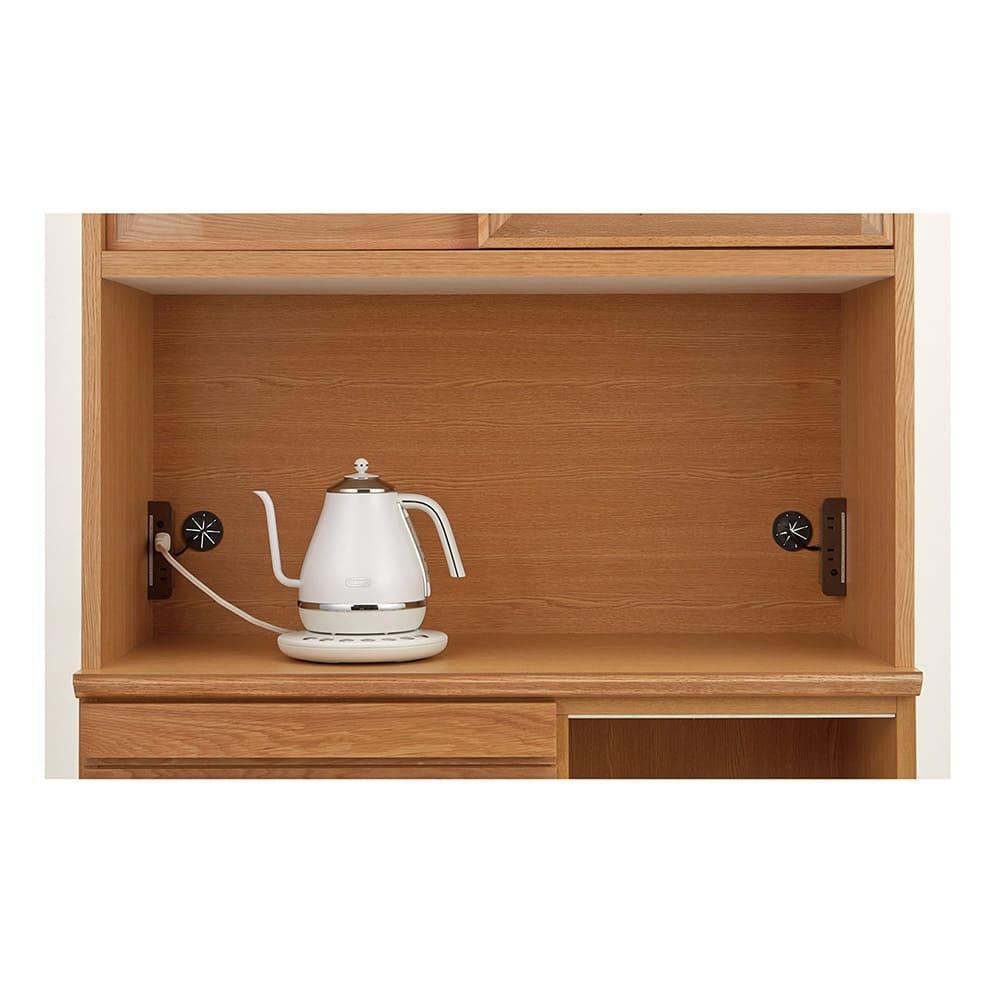 Lescordes/レコルデ キッチンボードシリーズ オープンボード 幅150cm 【キッチン家電を並べて使える】天板の両側に2口コンセントを配備。複数のキッチン家電を並べて置けます。