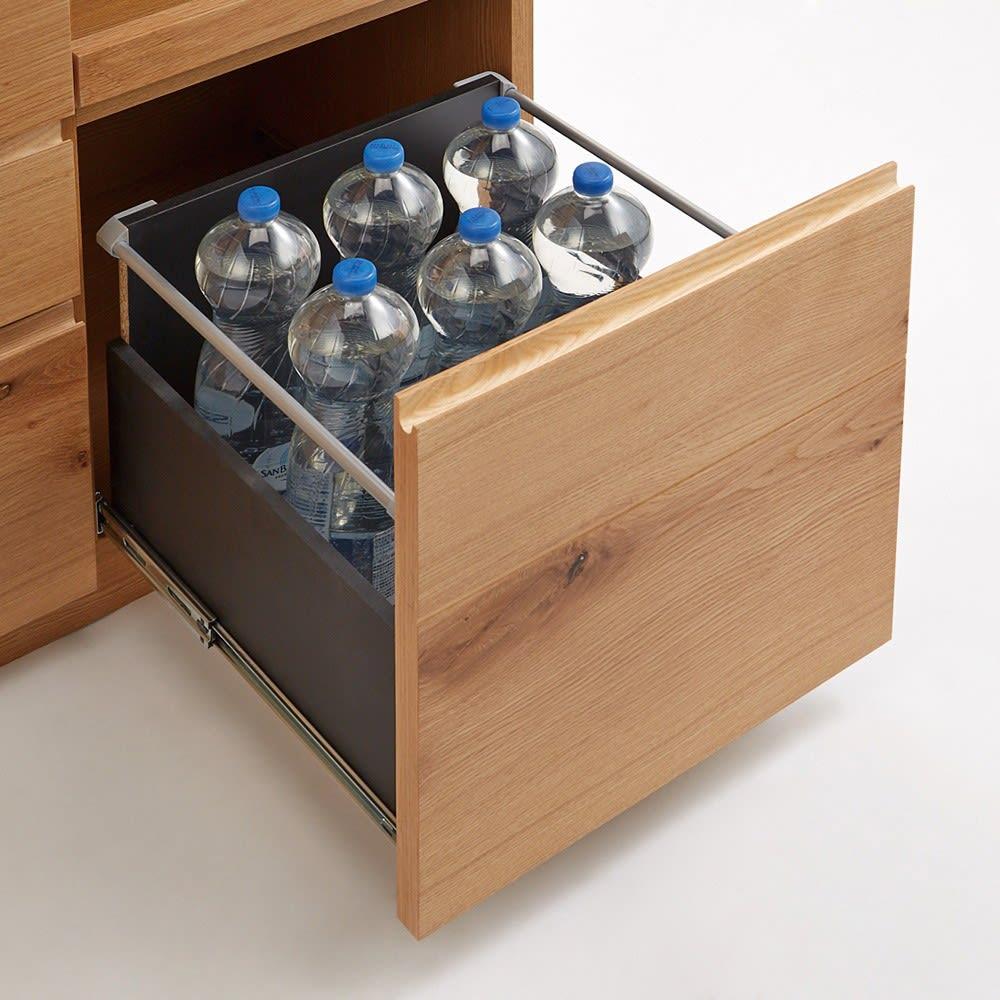 Lescordes/レコルデ キッチンボードシリーズ オープンボード 幅150cm 【たっぷり深引き出し】スライド収納下の引き出しには2Lボトルが収納可能。