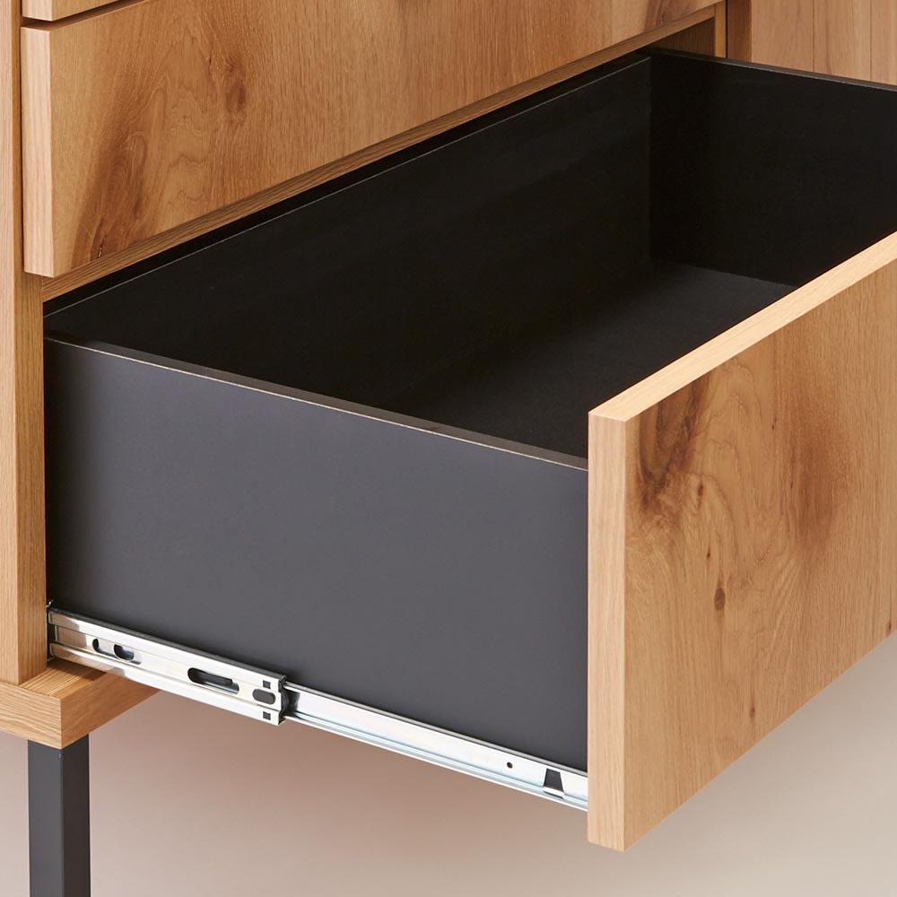 Bonno/ボノ 扉キッチンカウンター 幅80cm フルスライドレール スムーズに引き出せ奥まで一気に見渡せます。
