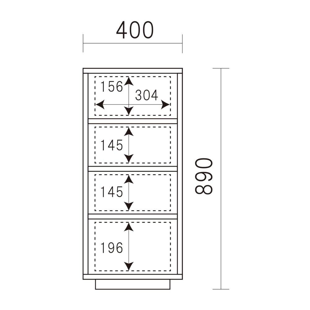 LEDライト付きサイドボード シリーズ チェスト 幅40cm 内寸図(cm)