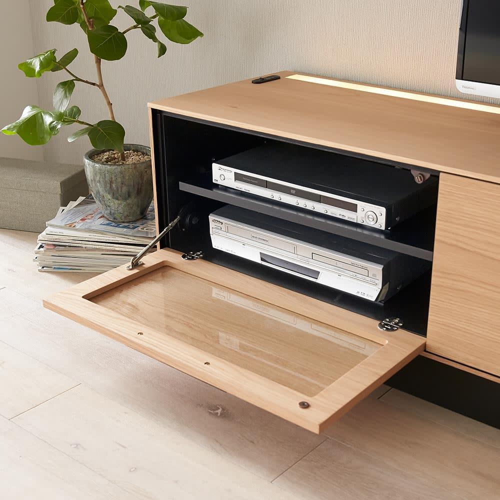 Glint/グリント LED照明付きテレビ台 幅240cm フラップ扉はガラス+天然木仕上げ。