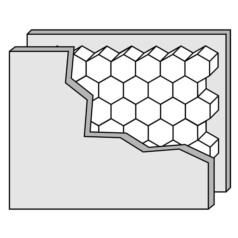 Pombal/ポンバル シェルフ 高さ224cm 連結用パーツ/追加用シェルフ1列 厚みのあるフレームは、板と板の間にハニカム(蜂の巣状のパルプ)をはさんだ丈夫な構造です。
