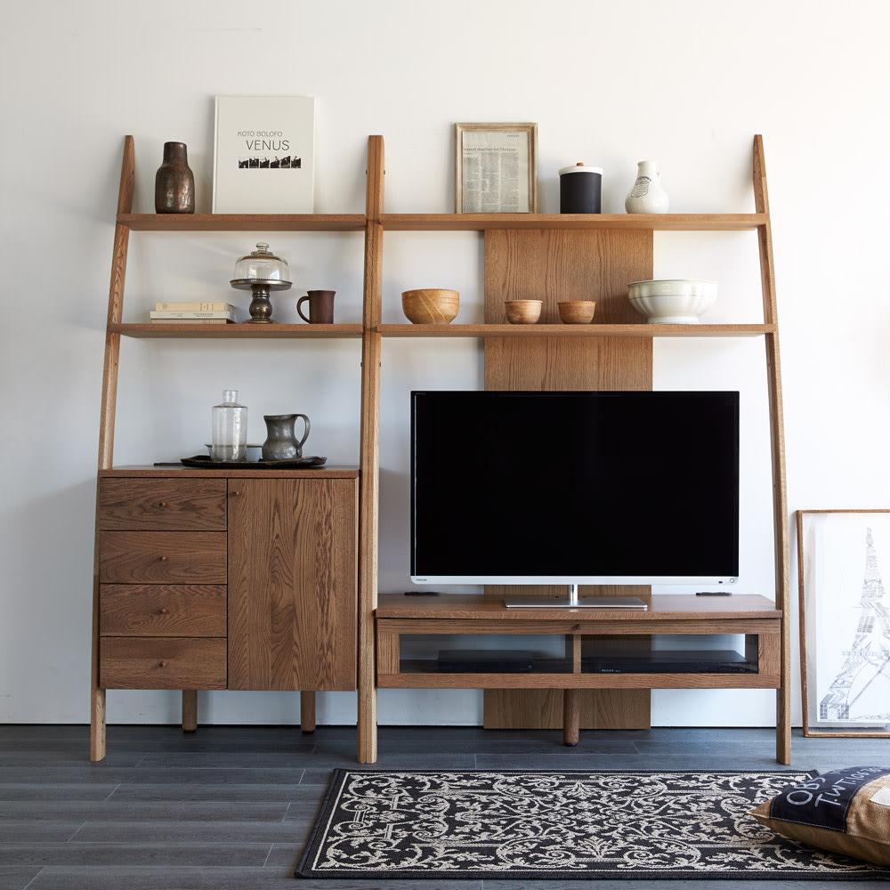 天然木シェルフシリーズ テレビ台 幅115cm[素材オーク/アルダー] オーク ※写真はキャビネット片開きタイプとの組み合わせ例。