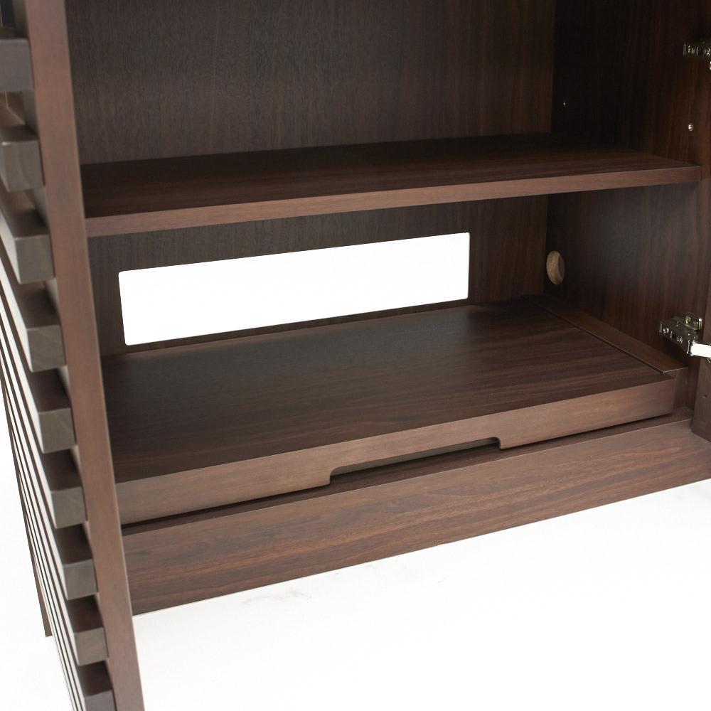 ウォルナット格子リビング収納シリーズ PCデスク 幅120cm デスク下部スライドテーブルはプリンター台に。 有効内寸:幅67奥行38高さ23・29・45cm
