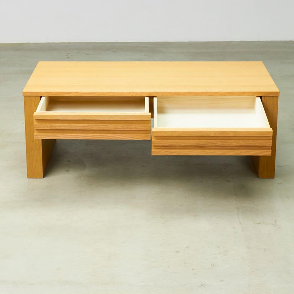 格子デザインシリーズ(ウォルナット) 引き出し付きリビングテーブル 仕様イメージ(※お届けはウォルナット色です)