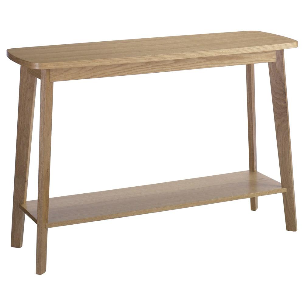オーク天然木 リビングテーブル 棚付きコンソールテーブル [WOODMAN・ウッドマン] 省スペースなコンソール。ソファーの背面に置いてソファテーブルとしても使えます。