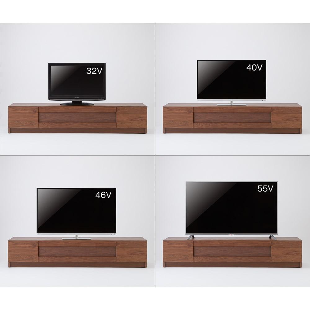木目の風合いに包まれた隠しガラスグロッセウォルナットテレビ台 幅180cm テレビ台とテレビのバランス参考。※テレビメーカーによって同じインチ数でもサイズがことなります。ご使用のテレビサイズをご確認ください。