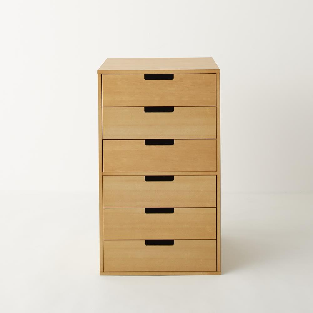 PortaII/ポルタ 多目的収納シリーズ 6段チェスト ツガ天然木の化粧合板を使用しているので、天然木の豊かな風合いが味わえます。