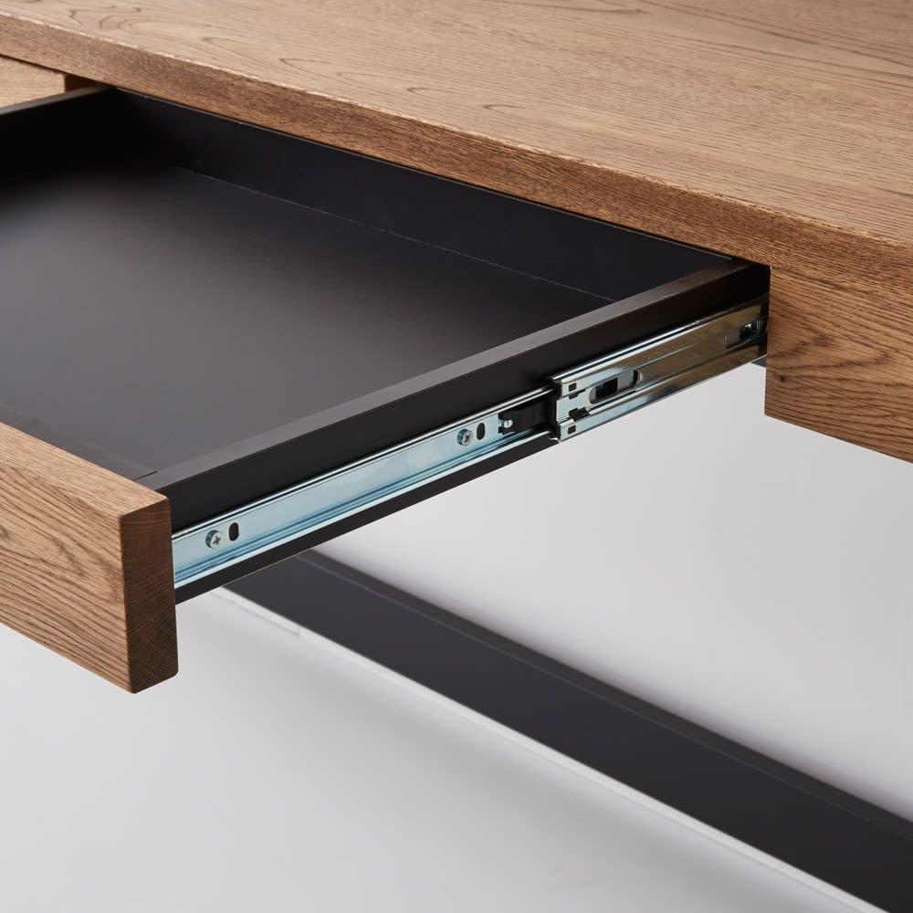 Brook(ブルック) ウッドデスクシリーズ デスク 幅150cm 引き出しはストッパー付きのスライドレールで、開閉や出し入れもラクラクです。