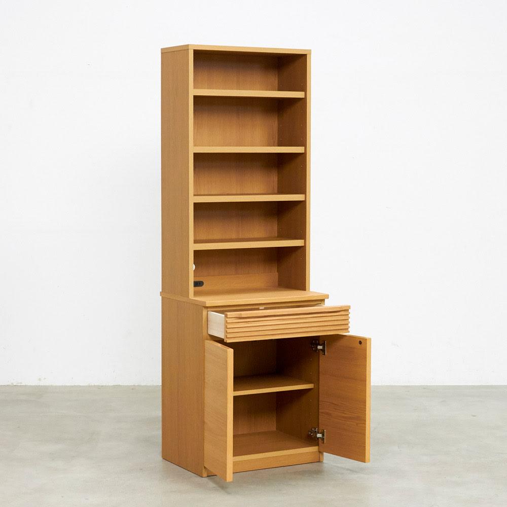 Pisaro/ピサロ オーク格子デスクシリーズ シェルフ 幅60高さ180cm 商品イメージ (外寸cm)幅60奥行45高さ180