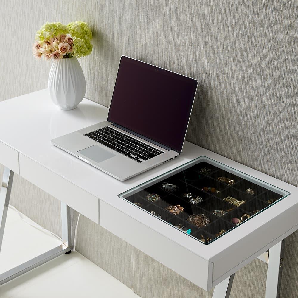 Panop/パノプ コレクション収納付きデスク 幅120cm コレクションスペース以外はPC作業スペースとして使用できます。