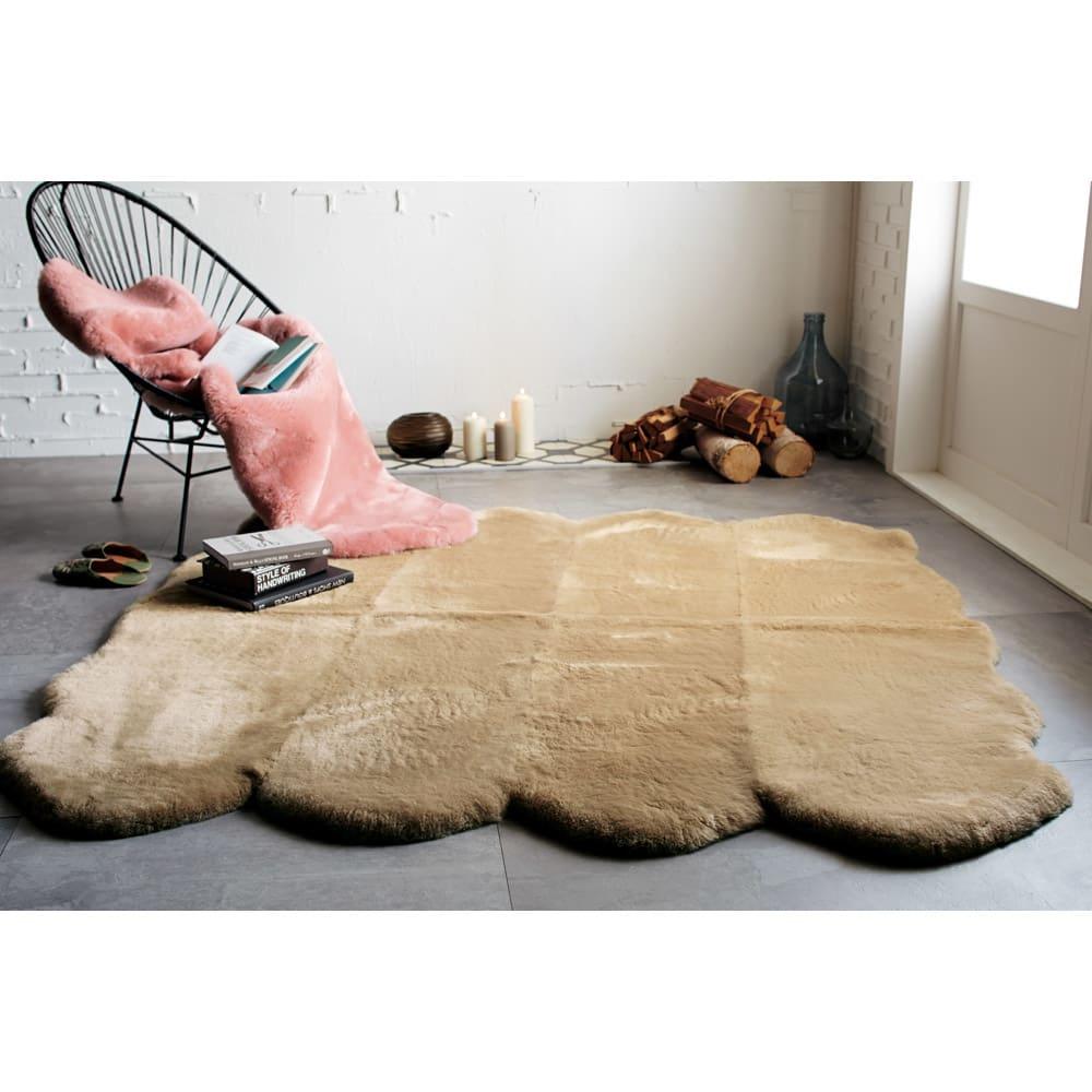 洗える短毛35mmAグレード Mouton/ムートン ラグ モカベージュ・8匹物、グレイッシュピンク・2匹物