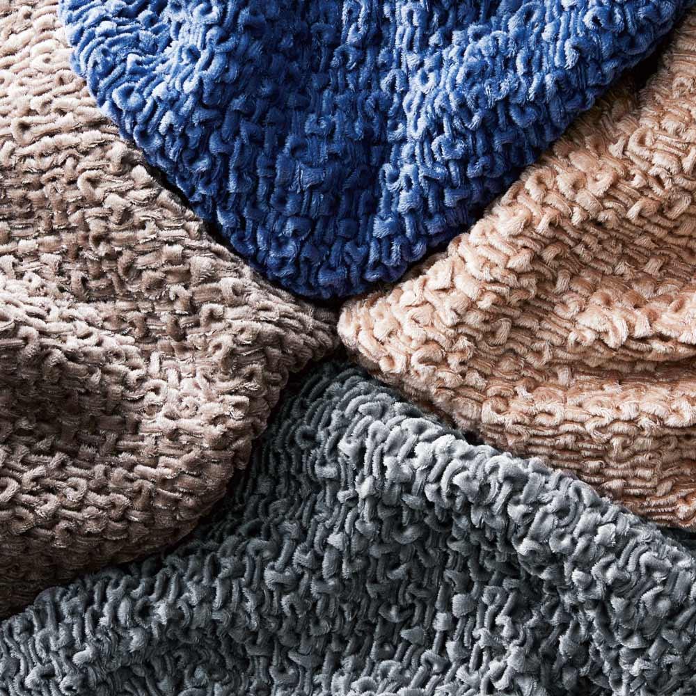 イタリア製ソファカバー Velvety/ベルベティ アームなし 上:ブルー 右:ブラウンベージュ 下:チャコールグレー 左:セピアブラウン