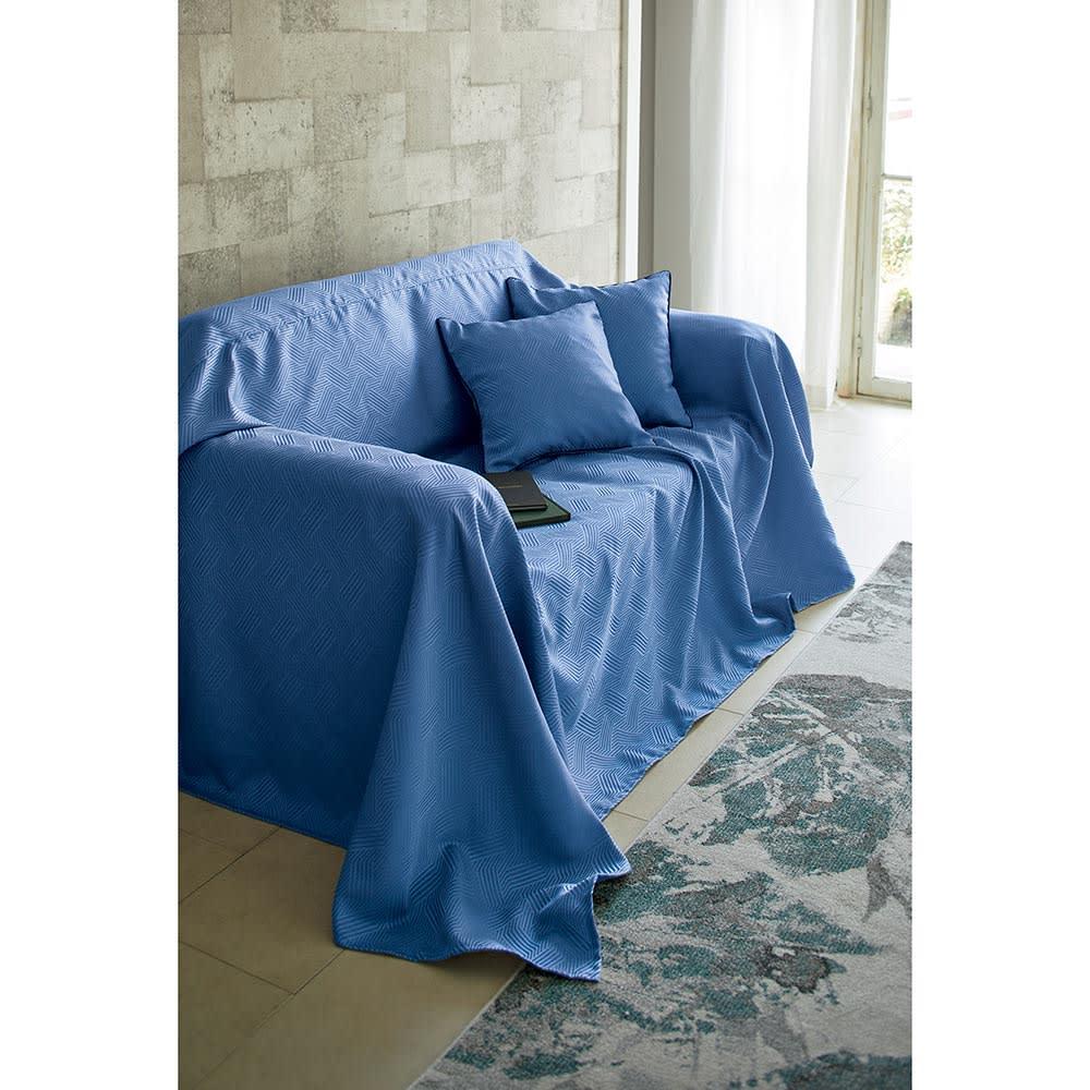 ホテル仕様スプレッド・フットスロー Plagea/プラージュア (ア)クラシックブルー スプレッドはソファにかけてもお使いいただけます