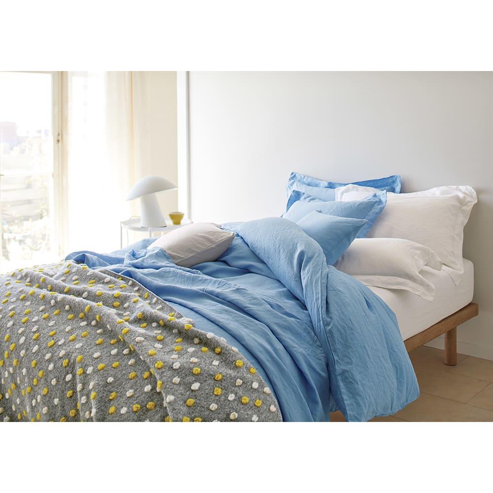 French Linen/フレンチリネン カバーリング クッションカバー(同色2枚組) [コーディネート例]ホワイト、ライトブルー ※お届けはクッションカバーです。