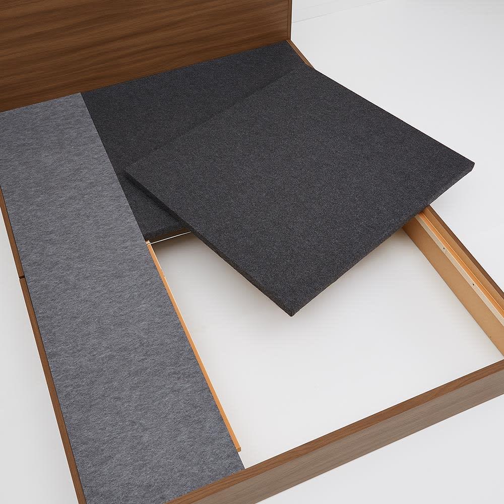 Pahkina/パーキナ 収納ベッド クラリス 床板下は長物が収納できるスペースがあります。オフシーズンの寝具などもたっぷり収納。