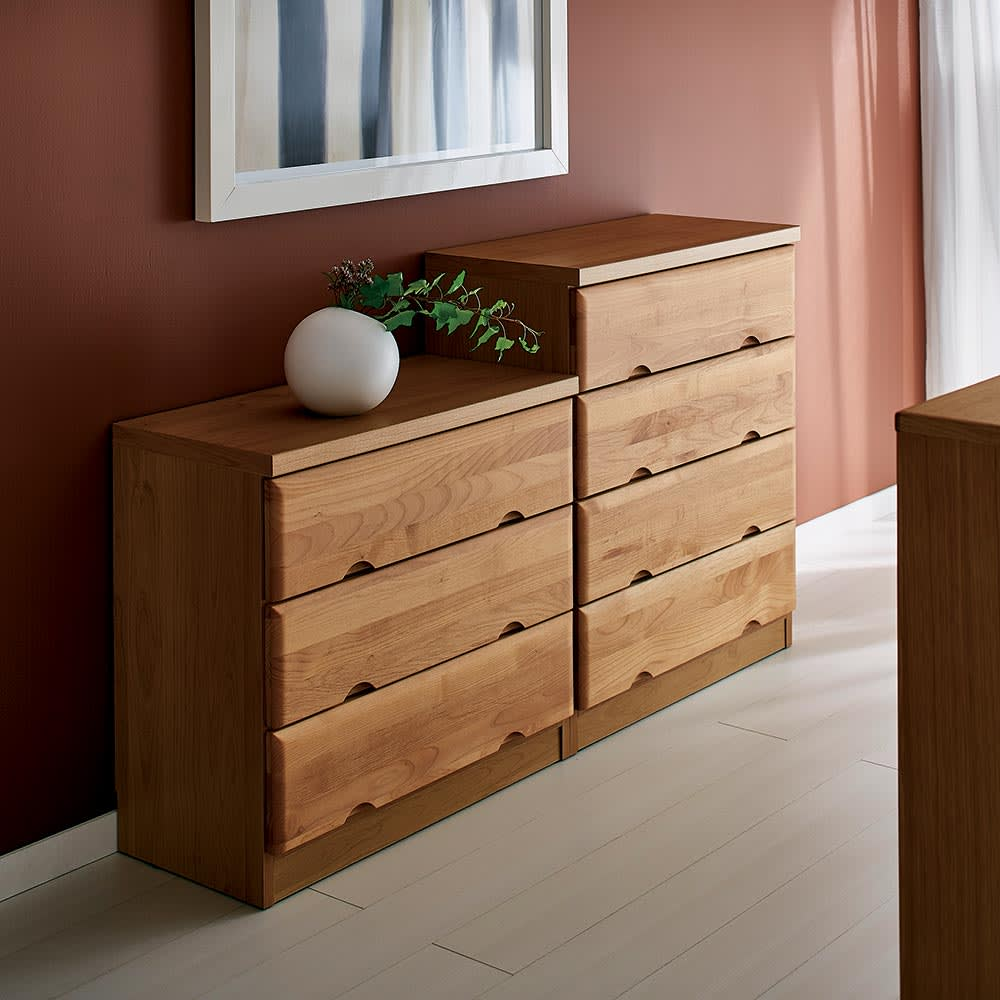Tord/トルド 天然木薄型チェスト チェスト3段 (ア)ナチュラル お届けの商品は手前の3段タイプです。