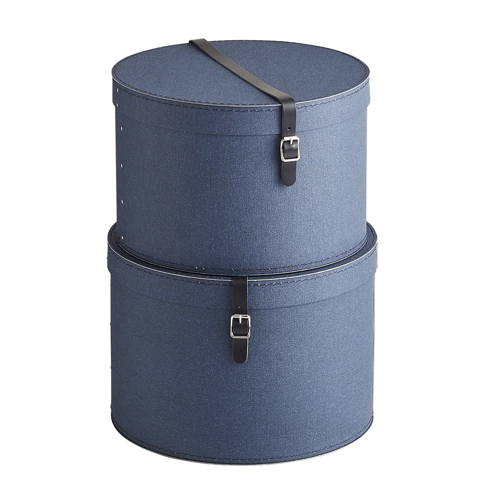 BIGSOBOX 帽子収納ボックス RUT(2個組) (ウ)ネイビー