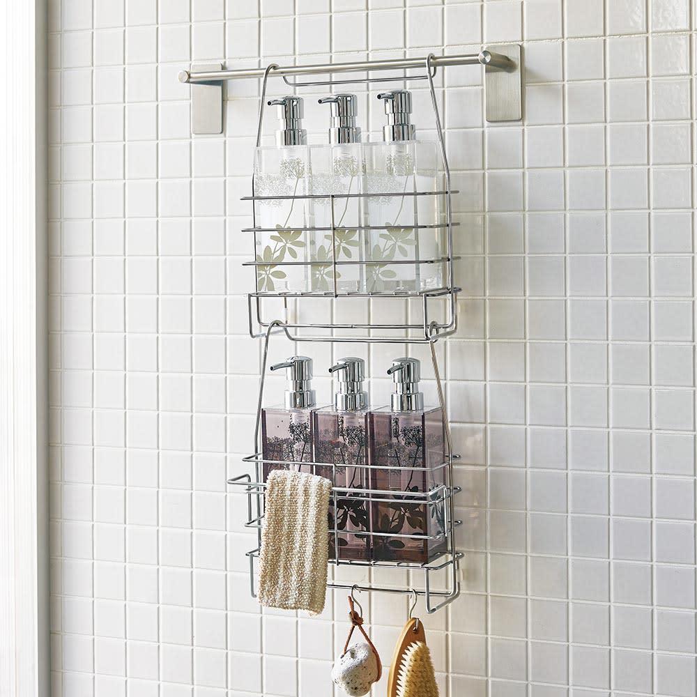 ステンレス製シャンプーバスケット お得な2個セット 浴室のタオルハンガーや洗濯物バーに下げて使うバスケットです。