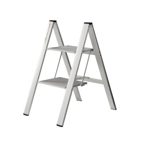 薄型アルミステップ 2段 シルバー アルミ脚立