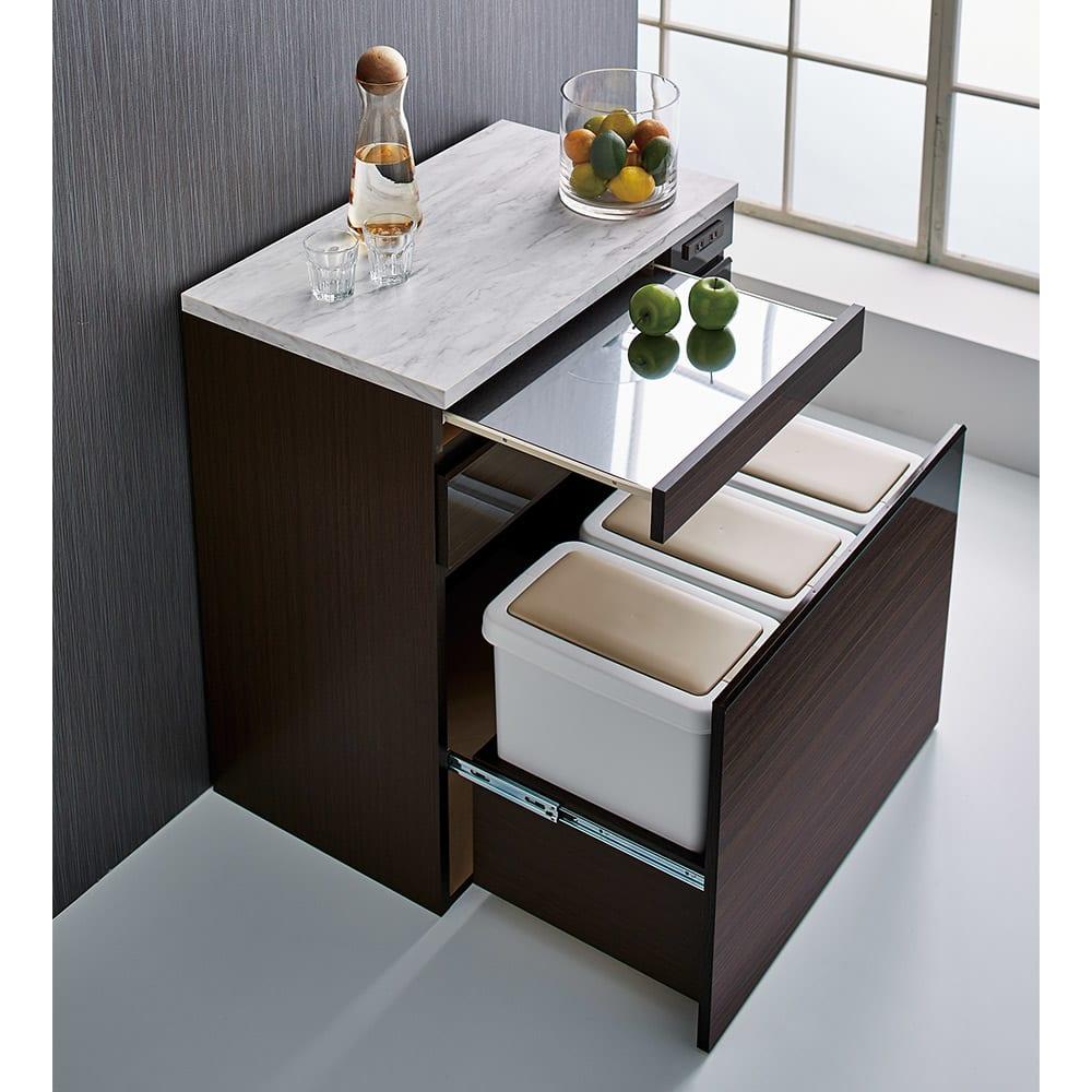Formo/フォルモ 大理石調 ゴミ箱付きカウンター 3分別 (イ)ダークブラウン 高機能な大理石調天板とステンレスのテーブル付き