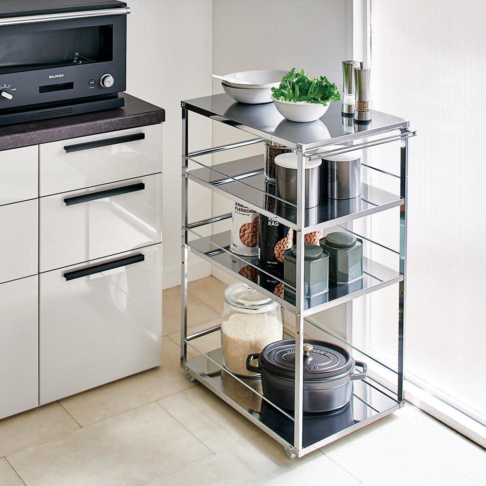 Prop/プロープ キッチン横 ステンレススリム作業台 幅40cm わずかなすき間にもたっぷり収納が可能。※幅40cmタイプ