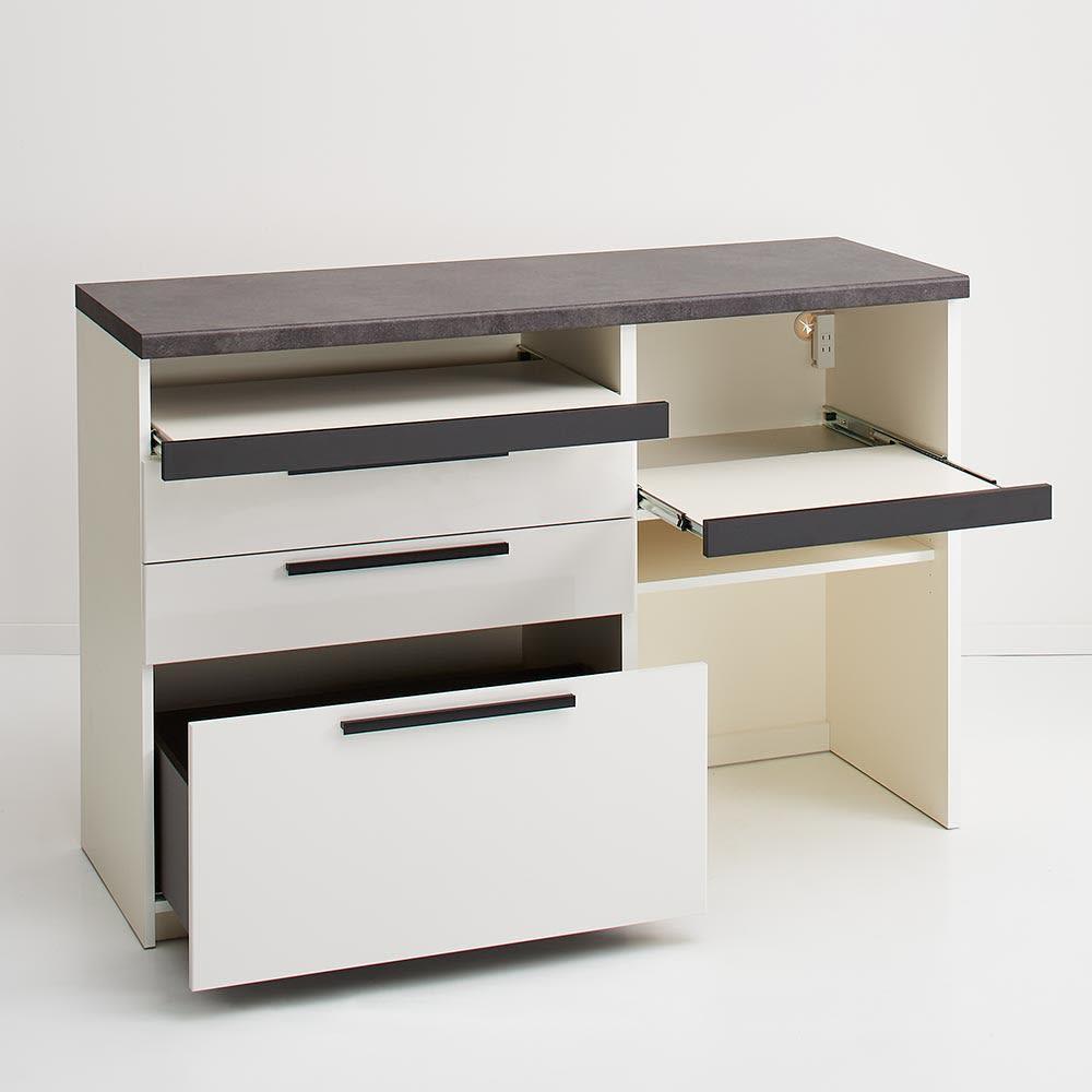 Boulder/ボルダー 石目調天板キッチンシリーズ カウンター 幅140cm 奥行50cm プレーンホワイト 機能的な設計で、キッチンのあれこれがまとめて片付きます。
